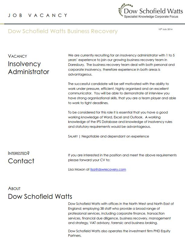 Job Vacancy_Insolvency Administrator_DSW Business Recovery